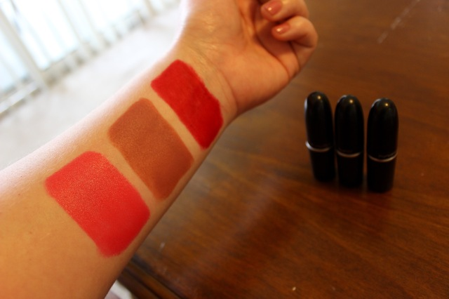 Top to bottom: Ruby Woo (retro matte), Velvet Teddy (matte), Impassioned (amplified).